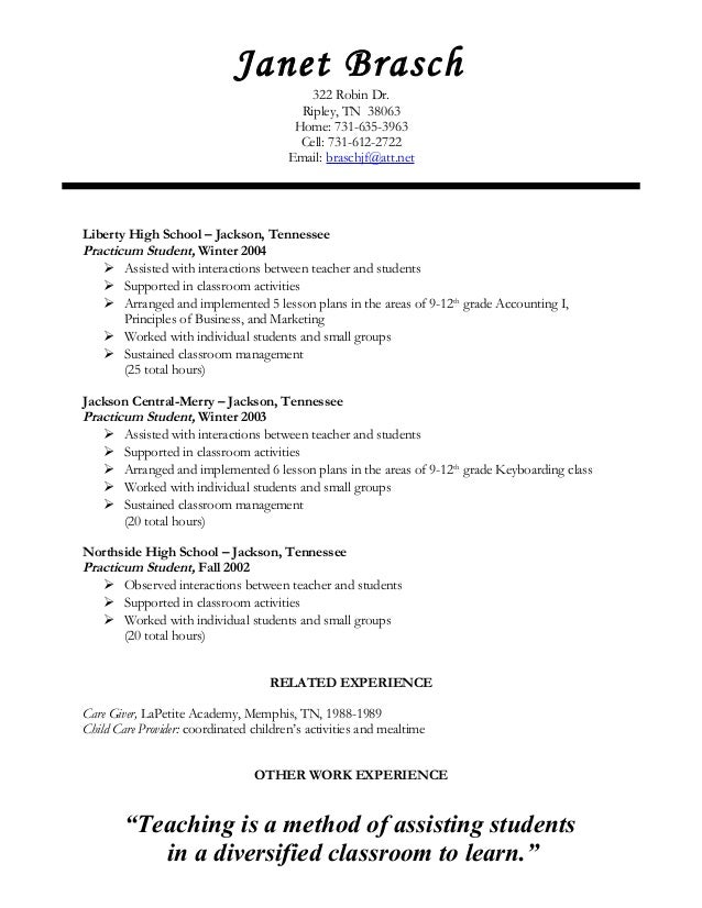 student teaching experience on resumes