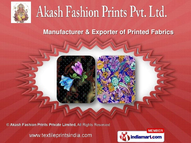 Manufacturer & Exporter of Printed Fabrics