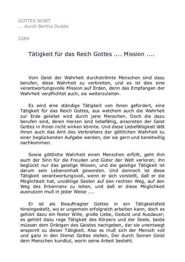 GOTTES WORT ... durch Bertha Dudde 3284 Tätigkeit für das Reich Gottes .... Mission .... Vom Geist der Wahrheit durchström...