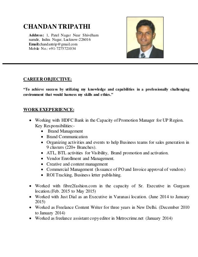 "CHANDAN TRIPATHI CAREER OBJECTIVE: ""To achieve success by utilizing my knowledge and capabilities in a professionally chal..."