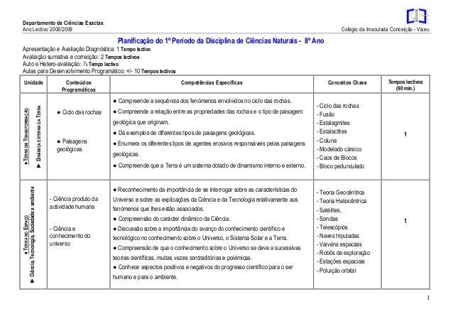 Departamento de Ciências Exactas Ano Lectivo 2008/2009 Colégio da Imaculada Conceição - Viseu 1 Planificação do 1º Período...