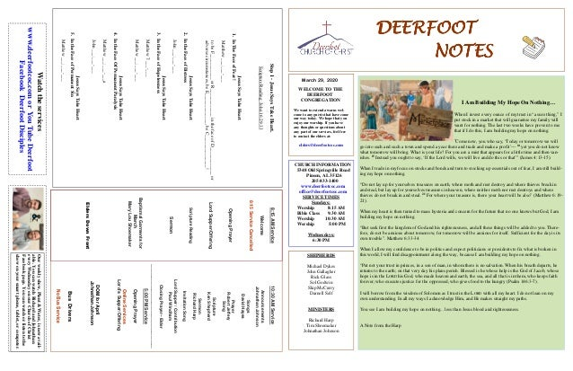 DEERFOOTDEERFOOTDEERFOOTDEERFOOT NOTESNOTESNOTESNOTES March 29, 2020 WELCOME TO THE DEERFOOT CONGREGATION We want to exten...