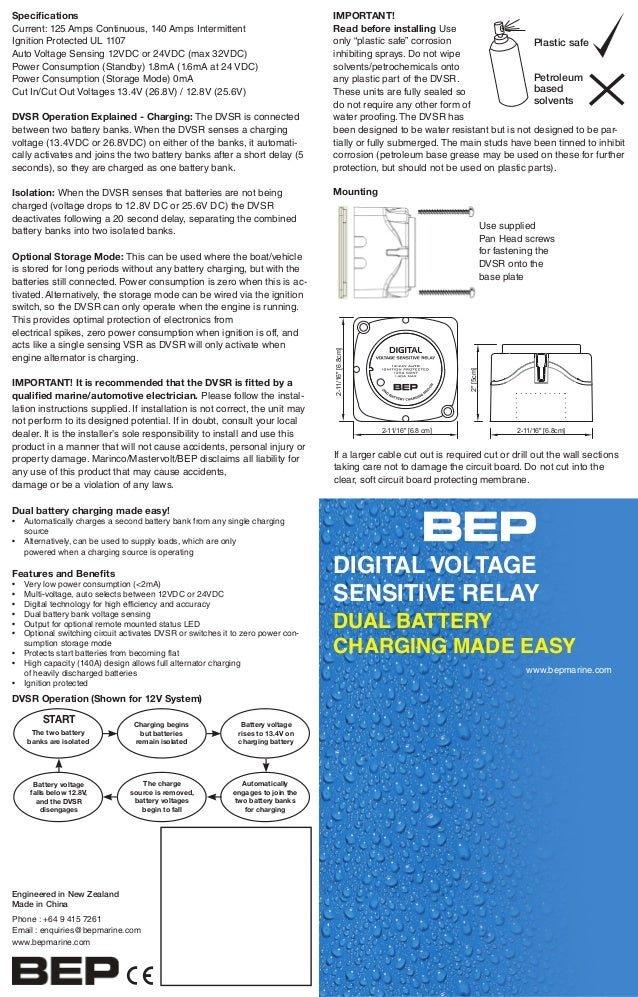 Bep Digital Voltage Sensitive Relay User Manual Dual Battery Charging Made Easy • Automatically Charges A Second Bank From Any Single: Voltage Sensitive Relay Module Wiring Diagram At Aslink.org