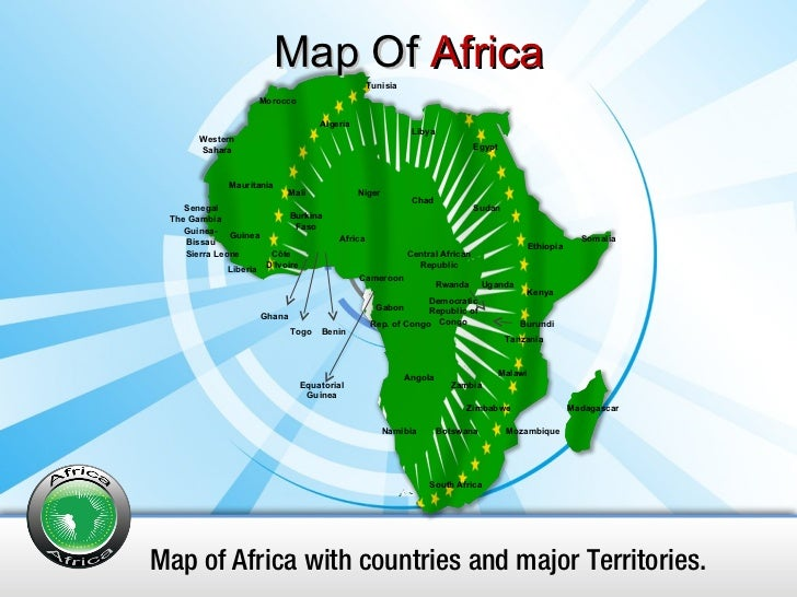 Map Of  Africa Map of Africa with countries and major Territories. South Africa Namibia Botswana Zimbabwe Mozambique Madag...