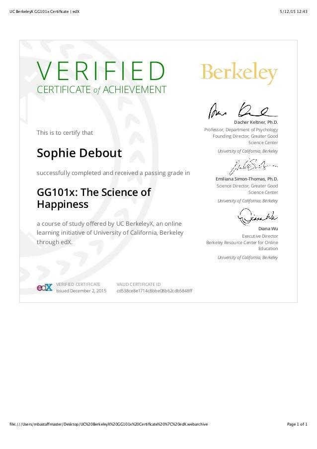 Uc Berkeleyx Gg101x Certificate Edx
