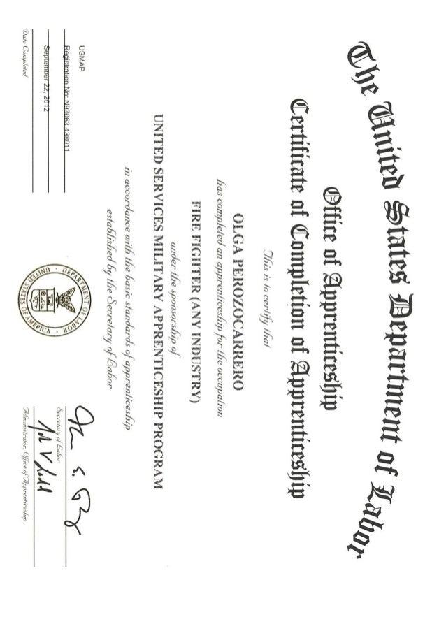 USMAPS Fire Fighter Certificate