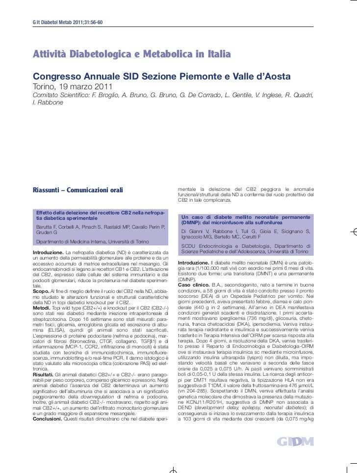 G It Diabetol Metab 2011;31:56-60Attività Diabetologica e Metabolica in ItaliaCongresso Annuale SID Sezione Piemonte e Val...