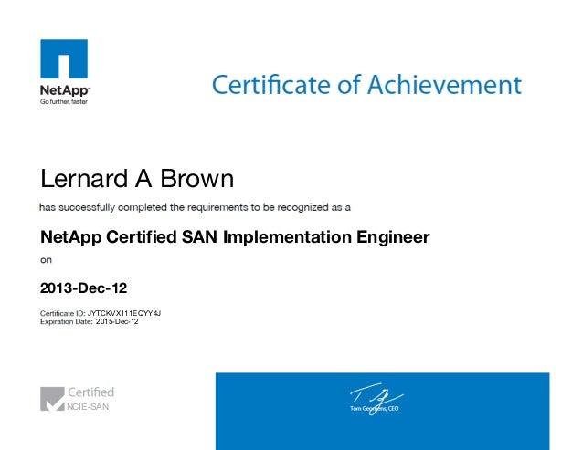 Netapp Certified San Implementation Engineer Certificate