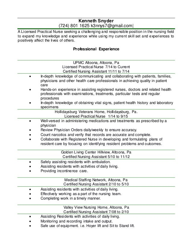 Kenny Lpn Resume  Word Document