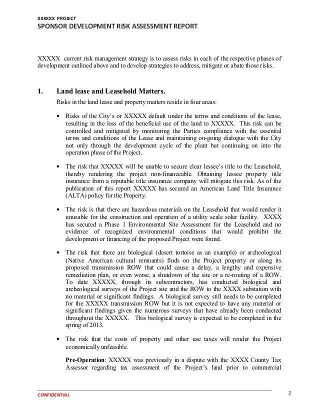 Example Sponsor Development Risk Assessment Report