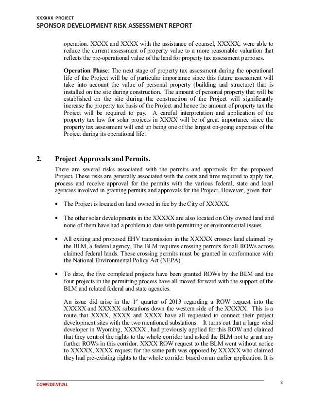 Property Development Risks : Example sponsor development risk assessment report