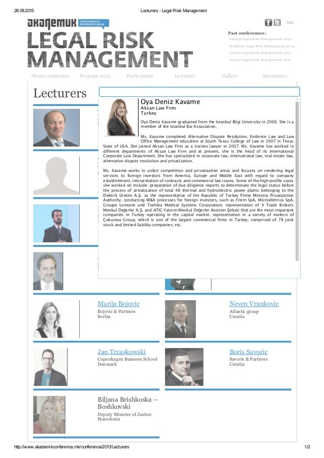 Lecturers - Legal Risk Management