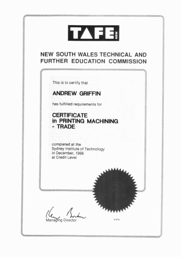 REFERENCES & CERTIFICATES - ANDREW GRIFFIN