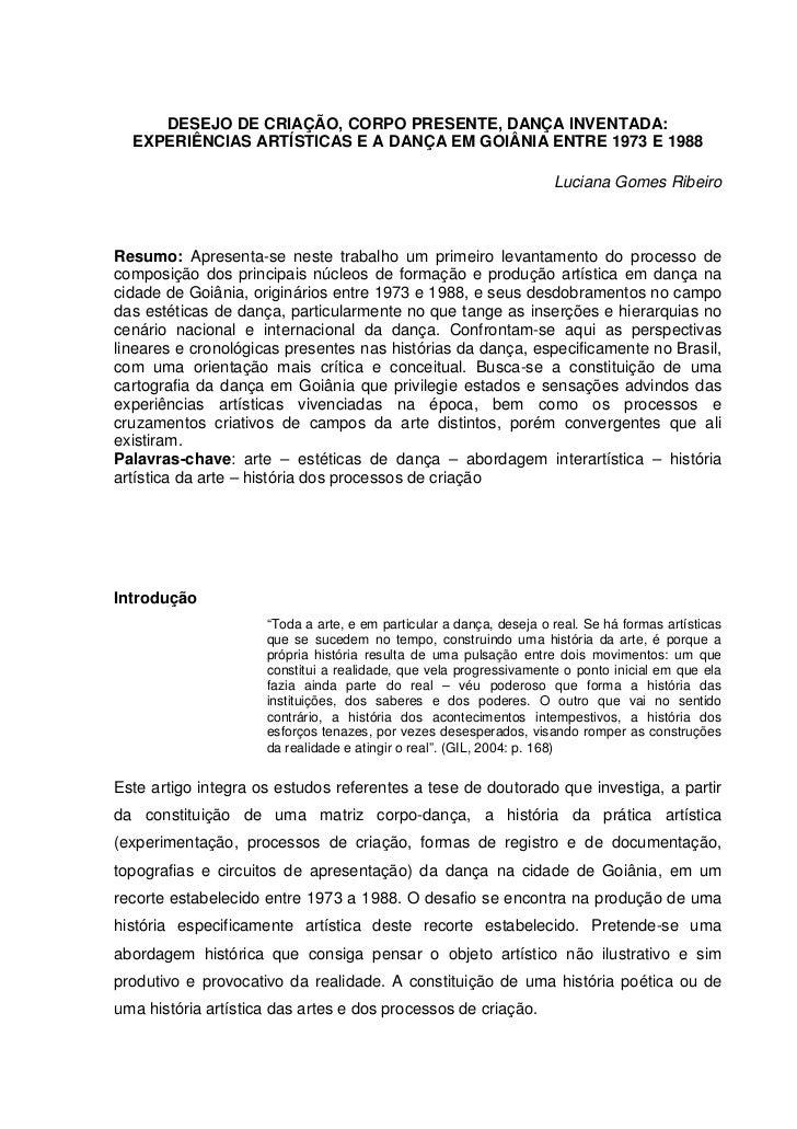 DESEJO DE CRIAÇÃO, CORPO PRESENTE, DANÇA INVENTADA:  EXPERIÊNCIAS ARTÍSTICAS E A DANÇA EM GOIÂNIA ENTRE 1973 E 1988       ...