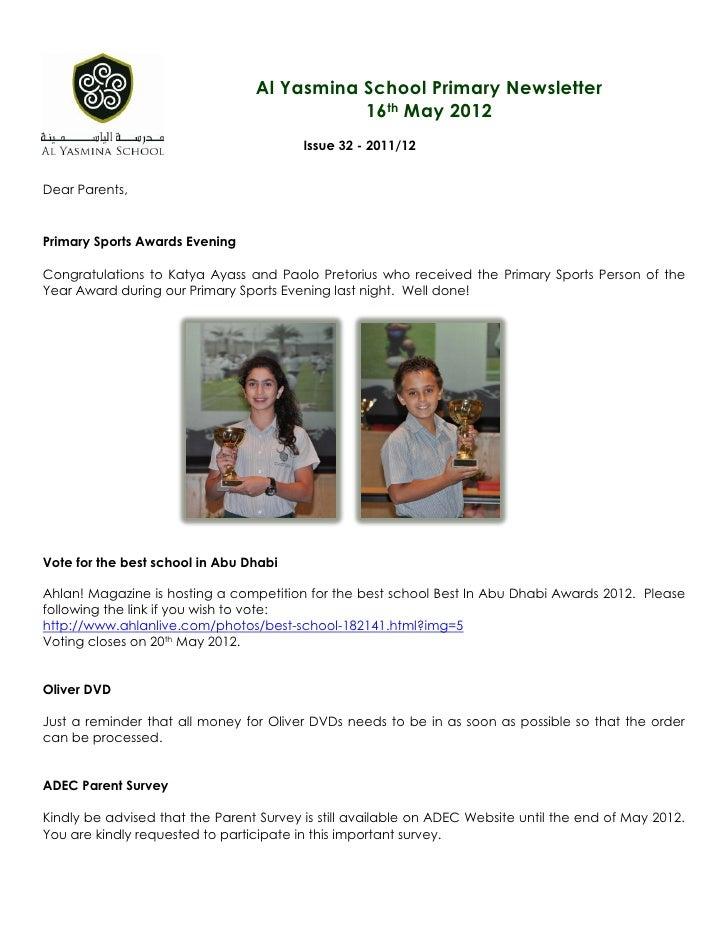 Al Yasmina School Primary Newsletter                                            16th May 2012                             ...