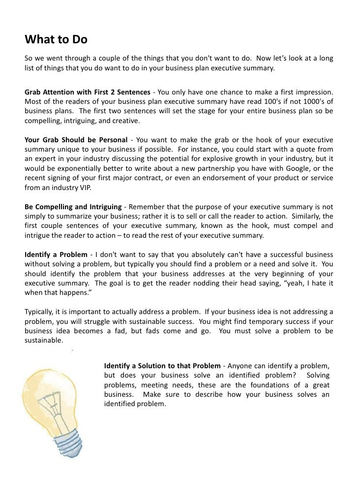 how to write a business plan executive summary ebook