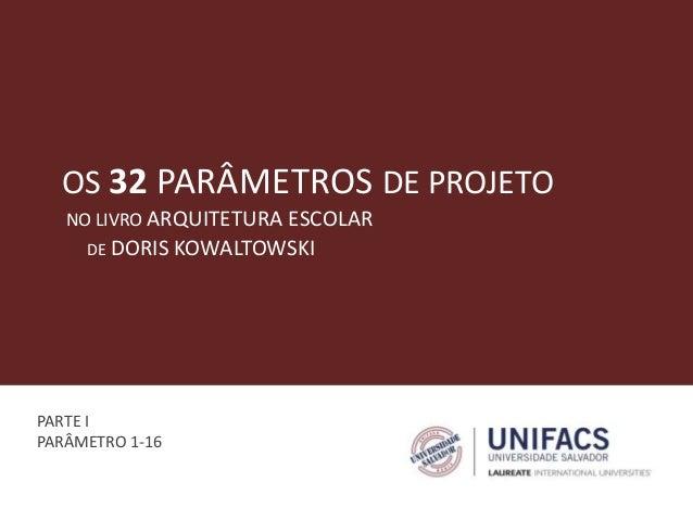 OS 32 PARÂMETROS DE PROJETO DE DORIS KOWALTOWSKI NO LIVRO ARQUITETURA ESCOLAR PARTE I PARÂMETRO 1-16