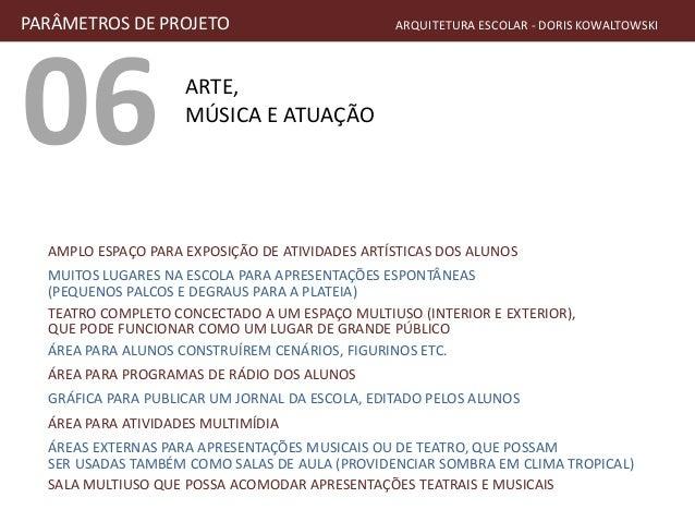 06 ARTE, MÚSICA E ATUAÇÃO PARÂMETROS DE PROJETO ARQUITETURA ESCOLAR - DORIS KOWALTOWSKI AMPLO ESPAÇO PARA EXPOSIÇÃO DE ATI...