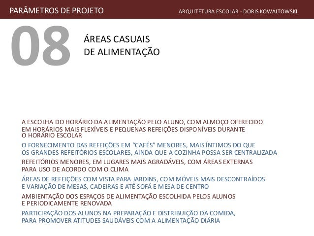 08 ÁREAS CASUAIS DE ALIMENTAÇÃO PARÂMETROS DE PROJETO ARQUITETURA ESCOLAR - DORIS KOWALTOWSKI A ESCOLHA DO HORÁRIO DA ALIM...