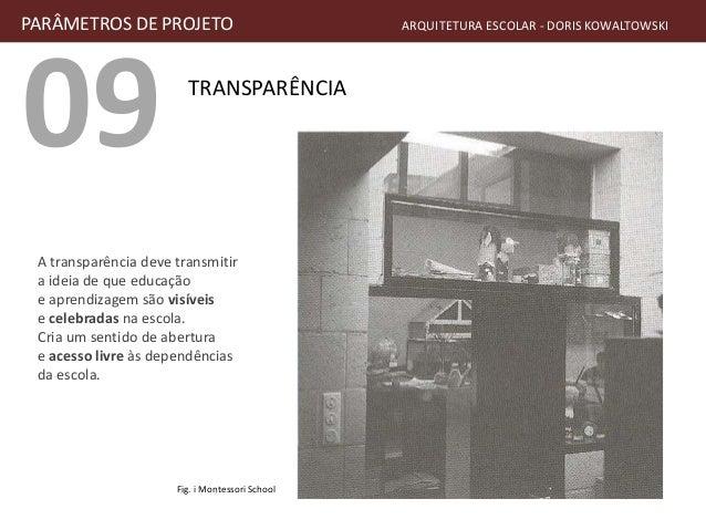 09 TRANSPARÊNCIA PARÂMETROS DE PROJETO ARQUITETURA ESCOLAR - DORIS KOWALTOWSKI A transparência deve transmitir a ideia de ...