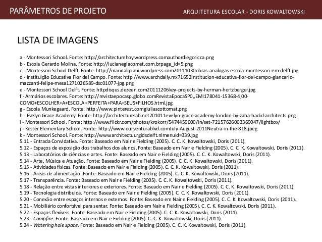 LISTA DE IMAGENS PARÂMETROS DE PROJETO ARQUITETURA ESCOLAR - DORIS KOWALTOWSKI a - Montessori School. Fonte: http://archit...