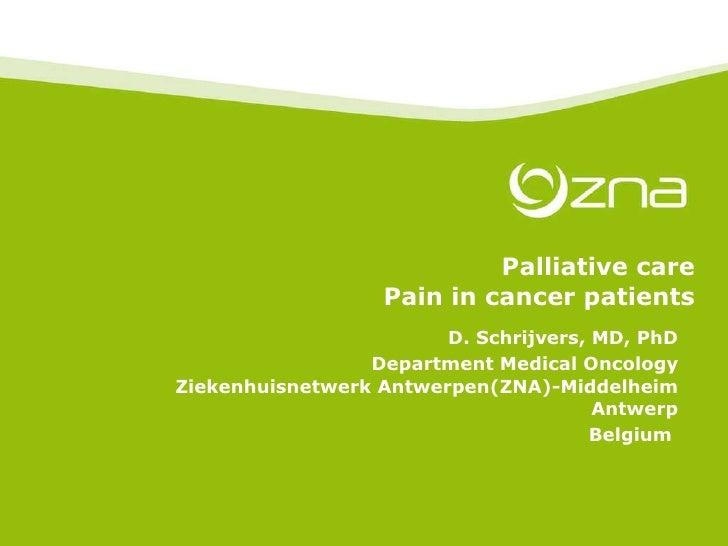 Palliative care Pain in cancer patients D. Schrijvers, MD, PhD Department Medical Oncology Ziekenhuisnetwerk Antwerpen(ZNA...