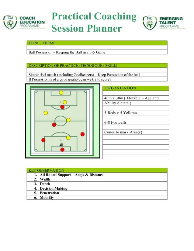 TOPIC / THEME Ball Possession – Keeping the Ball in a 5v5 Game DESCRIPTION OF PRACTICE (TECHNIQUE / SKILL) Simple 5v5 matc...