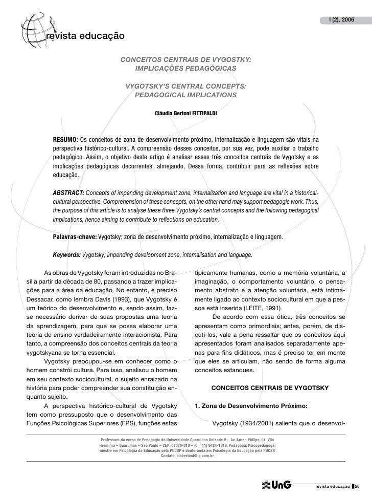 I (2), 2006       revista educação                                       CONCEITOS CENTRAIS DE VYGOSTKY:                  ...