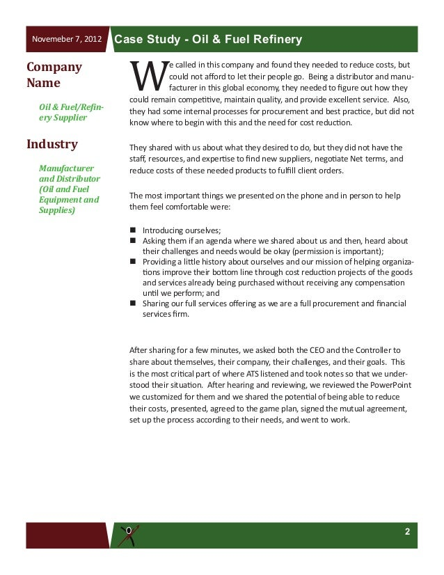 33 1 015 Oil Fuel Refinery Supplier Case Study