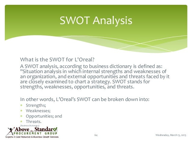 loreal swot analysis Swot analysis the swot analysis is a strategic planning method which takes into account both internal and external factors the internal factors are the strengths and.