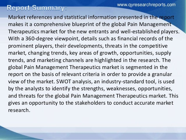 Pain Management Therapeutics Market Outlook and Forecast up to 2018