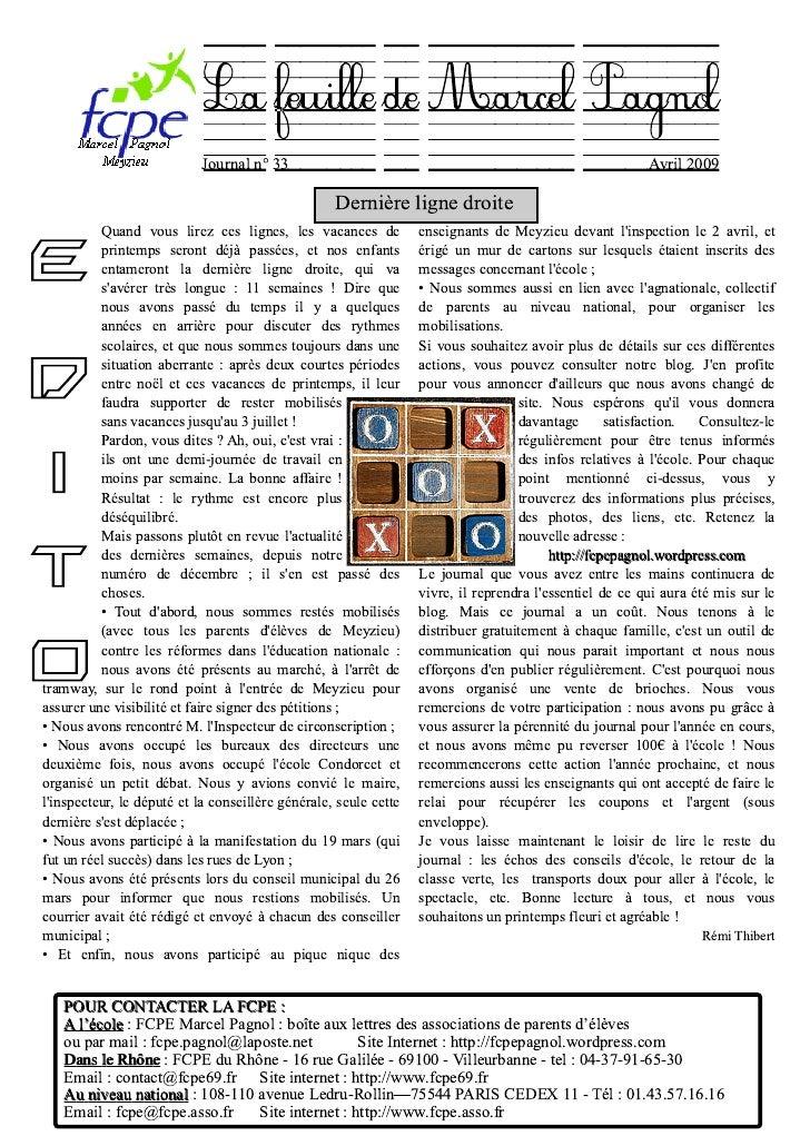 La feuille de MarcelPagnol                             Journal n° 33                                                      ...
