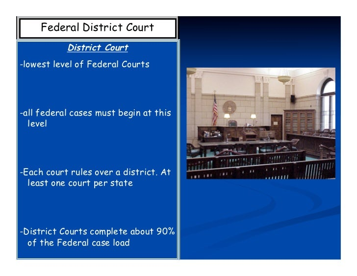 Federal District Court           District Court-lowest level of Federal Courts-all federal cases must begin at this  level...