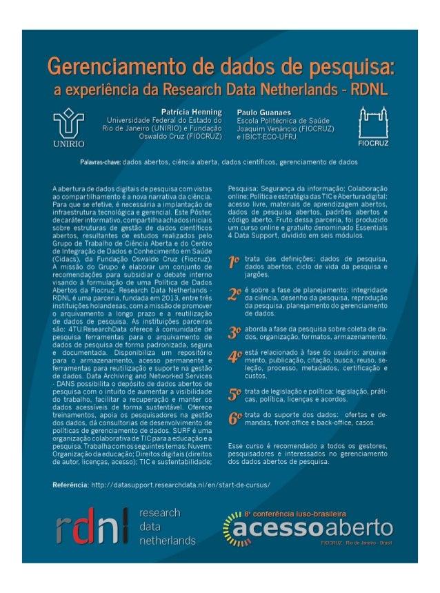 Gerenciamento de dados de pesquisa: a experiência da Research Data Netherlands – RDNL - CONFOA 2017