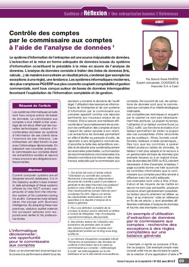 Revue Française de Comptabilité // N°433 Juin 2010 // 69 Synthèse // Réflexion // Une entreprise/un homme // Références au...