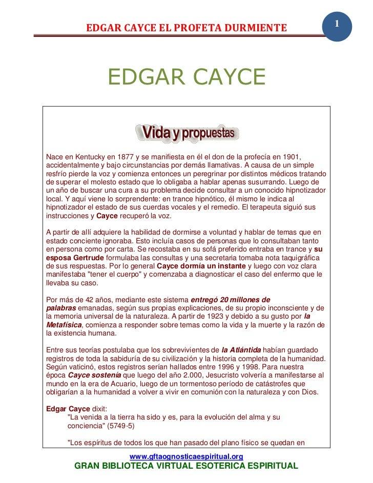 EDGAR CAYCE EL PROFETA DURMIENTE                                                1                   EDGAR CAYCENace en Ken...