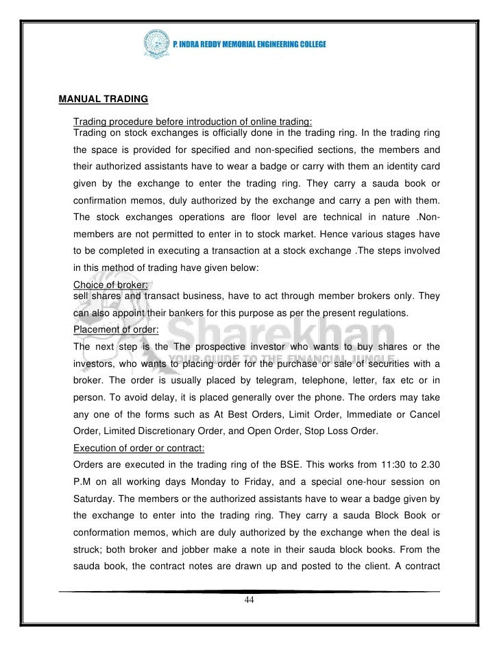 33059297 a project report on online trading stock brokers of sharekhan rh slideshare net Quality Manual Business Operations Manual