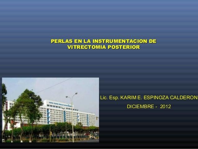 PERLAS EN LA INSTRUMENTACION DE     VITRECTOMIA POSTERIOR              Lic. Esp. KARIM E. ESPINOZA CALDERON               ...