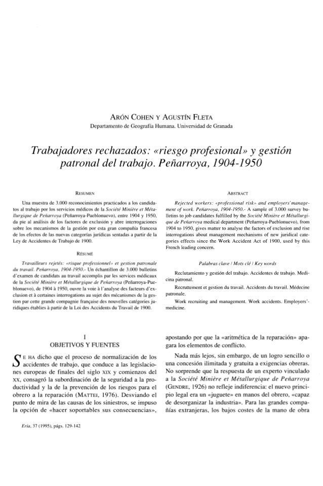 TRABAJADORES RECHAZADO EN RIESGO PROFESIONAL GESTIÓN PATRONAL  DEL TRABAJO EN PEÑARROYA 1904 ASTA 1950