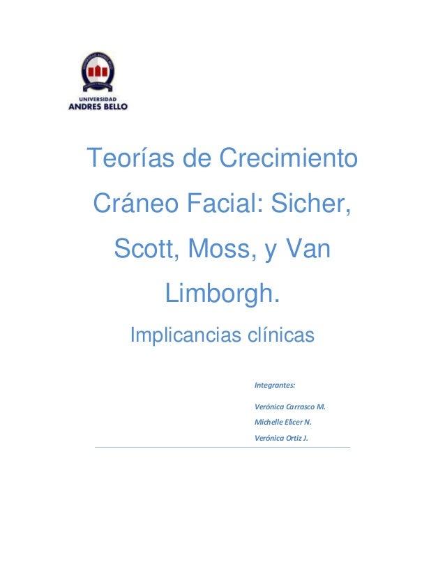 Teorías de Crecimiento  Cráneo Facial: Sicher,  Scott, Moss, y Van  Limborgh.  Implicancias clínicas  Integrantes:  Veróni...