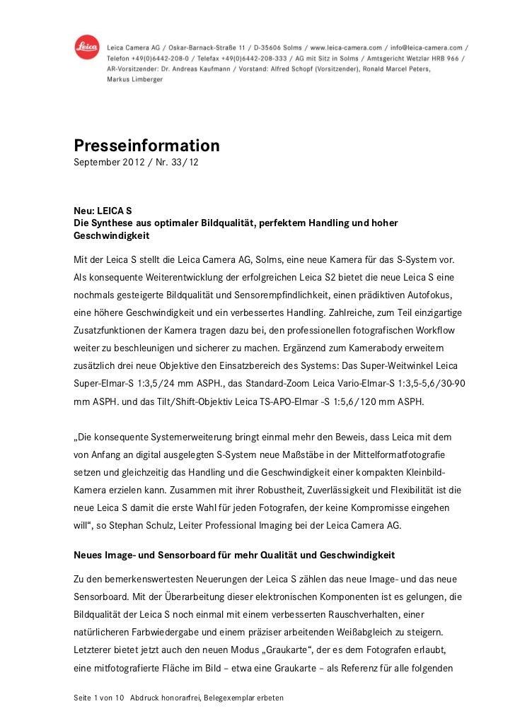 PresseinformationSeptember 2012 / Nr. 33/12Neu: LEICA SDie Synthese aus optimaler Bildqualität, perfektem Handling und hoh...