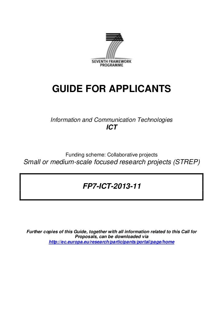 GUIDE FOR APPLICANTS           Information and Communication Technologies                                       ICT       ...