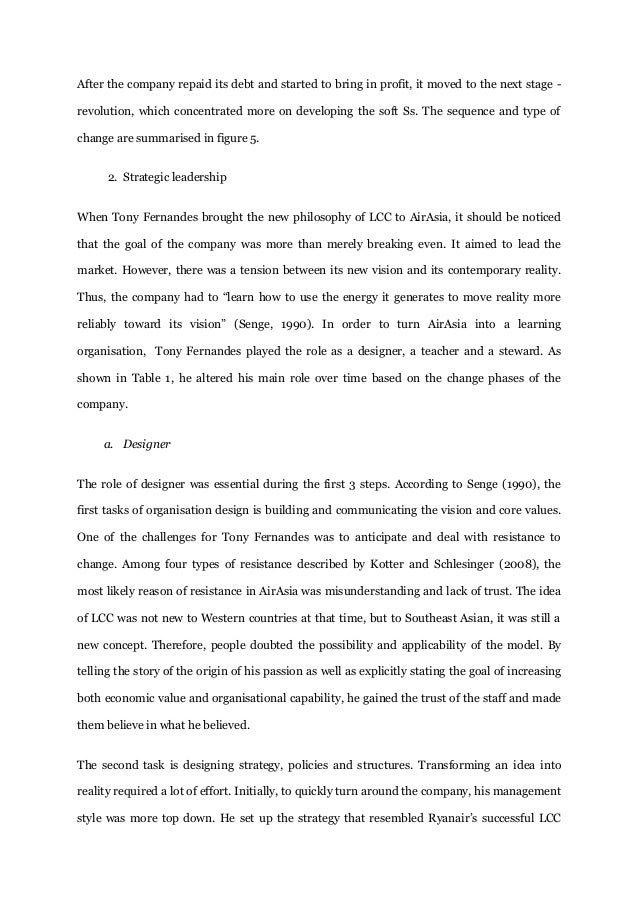 leadership of tony fernandes essay Free essay: 10 introduction tan sri anthony franicis fernandes or knows   antony fernandes leadership in managing the airasia company.