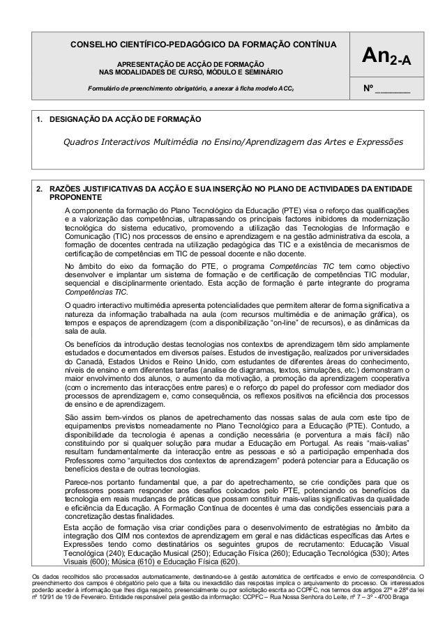 CONSELHO CIENTÍFICO-PEDAGÓGICO DA FORMAÇÃO CONTÍNUA APRESENTAÇÃO DE ACÇÃO DE FORMAÇÃO NAS MODALIDADES DE CURSO, MÓDULO E S...