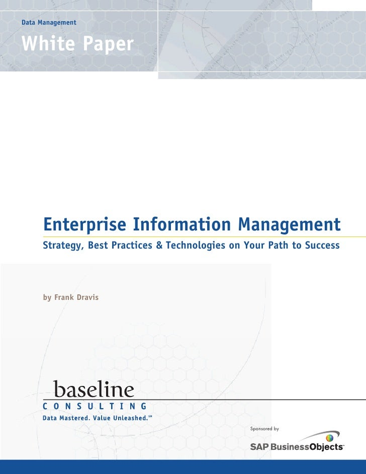 Data Management   White Paper          Enterprise Information Management      Strategy, Best Practices & Technologies on Y...