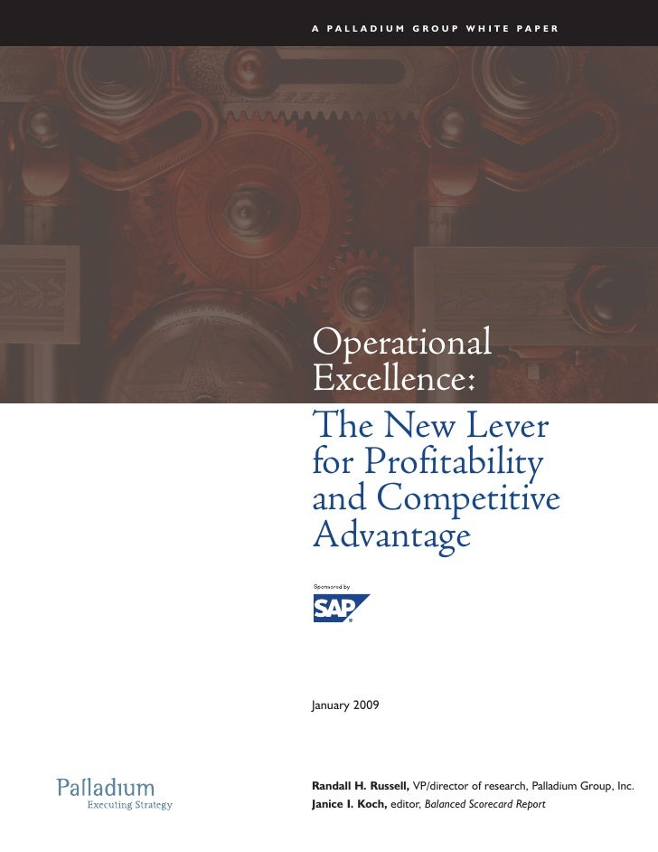 A PALLADIUM GROUP WHITE PAPER     Operational Excellence: The New Lever for Profitability and Competitive Advantage    Jan...