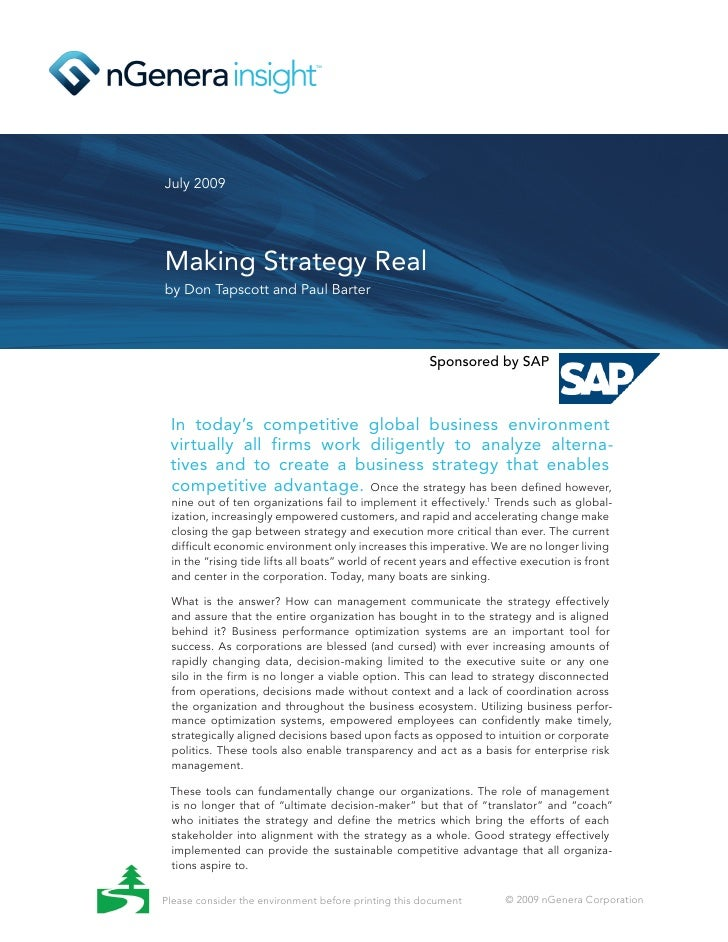 July 2009     Making Strategy Real by Don Tapscott and Paul Barter                                                        ...