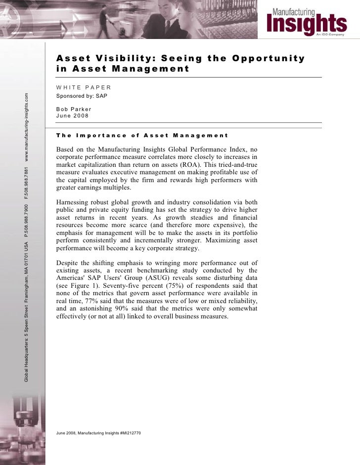 Asset Visibility: Seeing the Opportunity                                                                in Asset Managemen...