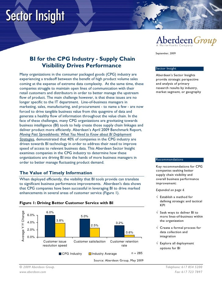 September, 2009                         BI for the CPG Industry - Supply Chain                             Visibility Driv...