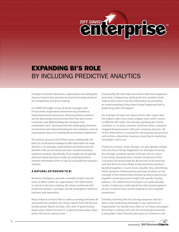 Expanding BIs Role by Including Predictive Analytics